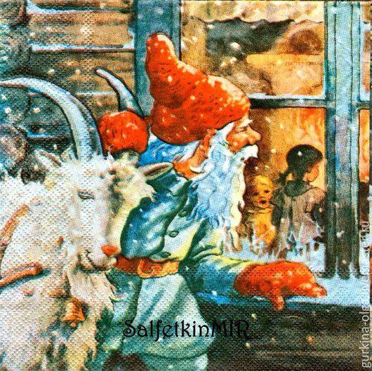Декупаж и роспись ручной работы. Ярмарка Мастеров - ручная работа. Купить Салфетка Гном и коза. Handmade. Комбинированный, салфетка для декупажа