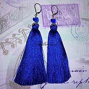 Серьги-кисти ручной работы. Ярмарка Мастеров - ручная работа Серьги-кисти синие со стеклом. Handmade.