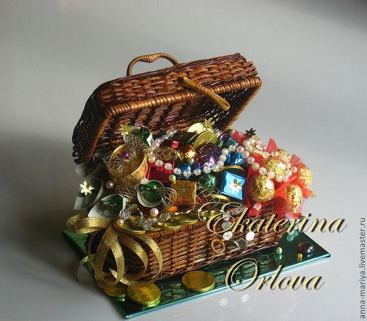 Кулинарные сувениры ручной работы. Ярмарка Мастеров - ручная работа. Купить Сокровища Шоколандии... (букет из конфет). Handmade. Подарок