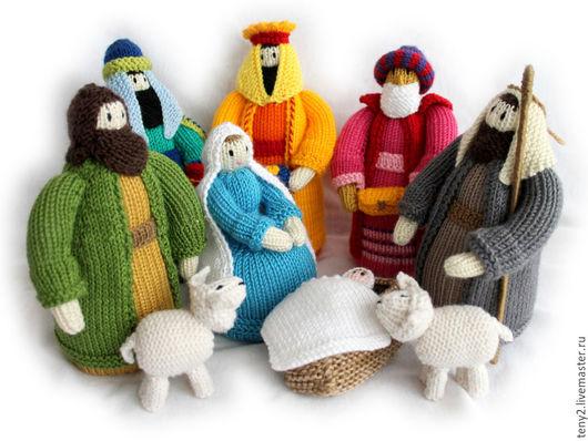 """Человечки ручной работы. Ярмарка Мастеров - ручная работа. Купить """"Рождественский вертеп"""". Handmade. Разноцветный, овца игрушка, волшебство, синтепух"""