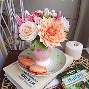 Подарки к праздникам ручной работы. Ярмарка Мастеров - ручная работа Нежный букет цветов в чашечке. Handmade.