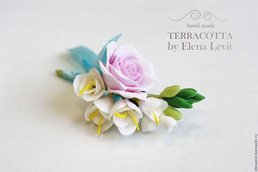 Бутоньерка из полимерной глины.Terracotta by Elena Levit.