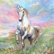 """Картины и панно ручной работы. Ярмарка Мастеров - ручная работа Картина """"Лошадь, летающая  в облаках"""". Handmade."""