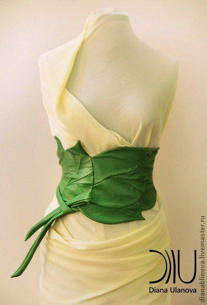 """Пояса, ремни ручной работы. Ярмарка Мастеров - ручная работа. Купить Пояс кожаный """"Листья"""" зеленый. Handmade. Зеленый"""