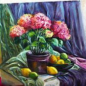 Картины и панно handmade. Livemaster - original item Still life with hydrangea and citrus. Handmade.