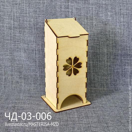 ЧД-03-006. Чайный домик с откидной крышкой. Форма окна - резной цветок. Материал: фанера 3 мм сорт 2/2