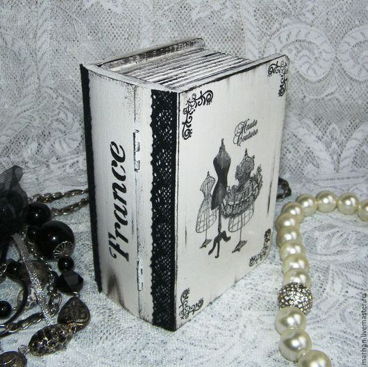 Шкатулка книга Французский винтаж, декупаж работы, монохром, черно-белый, шкатулка в подарок купить в москве, шкатулка ручной работы, декупаж шкатулки, шкатулка фото, купить шкатулку