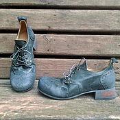 Обувь ручной работы. Ярмарка Мастеров - ручная работа Кожаные полуботинки РЕТРО сине-зеленые. Handmade.