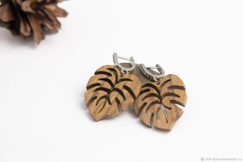 Серьги-листики из дерева амазаку