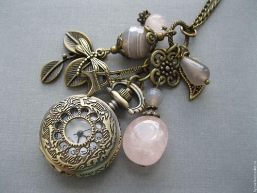 Часы ручной работы. Ярмарка Мастеров - ручная работа. Купить Часы кулон розовый кварц и серый агат.. Handmade. Часы