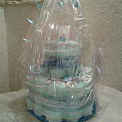Подарки для новорожденных, ручной работы. Ярмарка Мастеров - ручная работа Подарки для новорожденных: Торт из памперсов для новорожденного. Handmade.