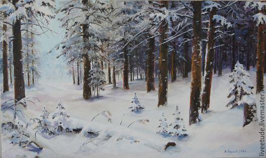 Масло,холст `Зимний лес`,пейзаж,работа автора. купить картину маслом,картина, картины, картины маслом, масло, живопись маслом,  выбор картин, где купить картину, картина, картина маслом, картина в по