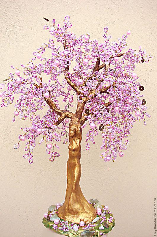 Деревья ручной работы. Ярмарка Мастеров - ручная работа. Купить Деревья из бисера. Весна. Handmade. Розовый, деревья и цветы из бисера