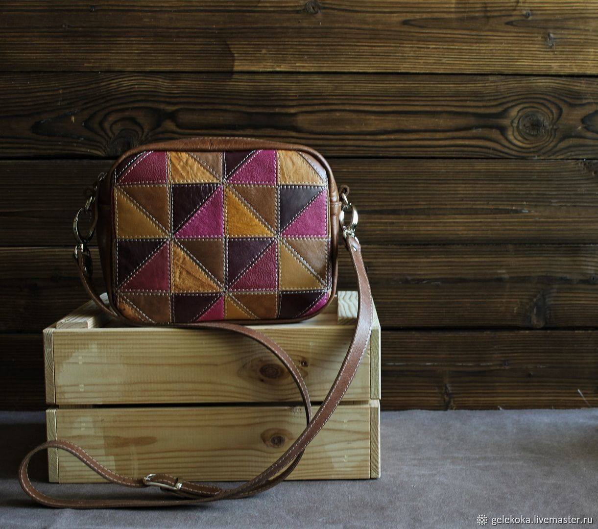 Bag made of genuine leather in a patchwork technique fuchsia, Messenger Bag, St. Petersburg,  Фото №1