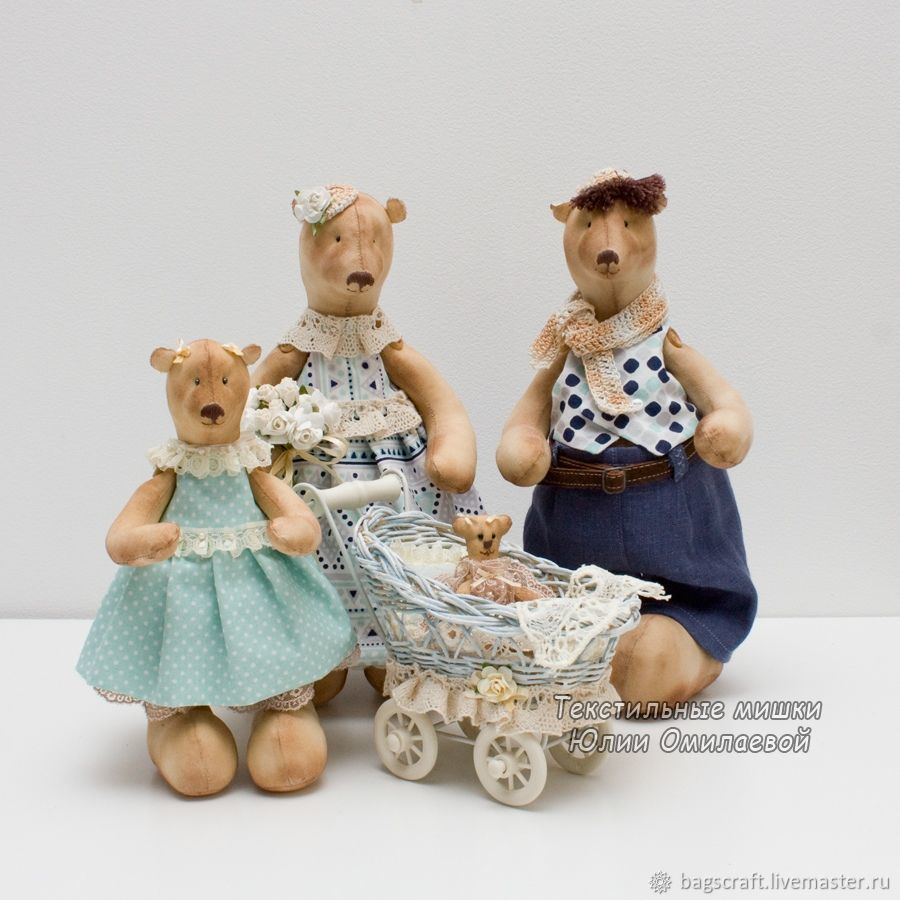 Семья. Мишки текстильные. Подарок Новый год, свадьба, день рождения, Мягкие игрушки, Краснодар,  Фото №1