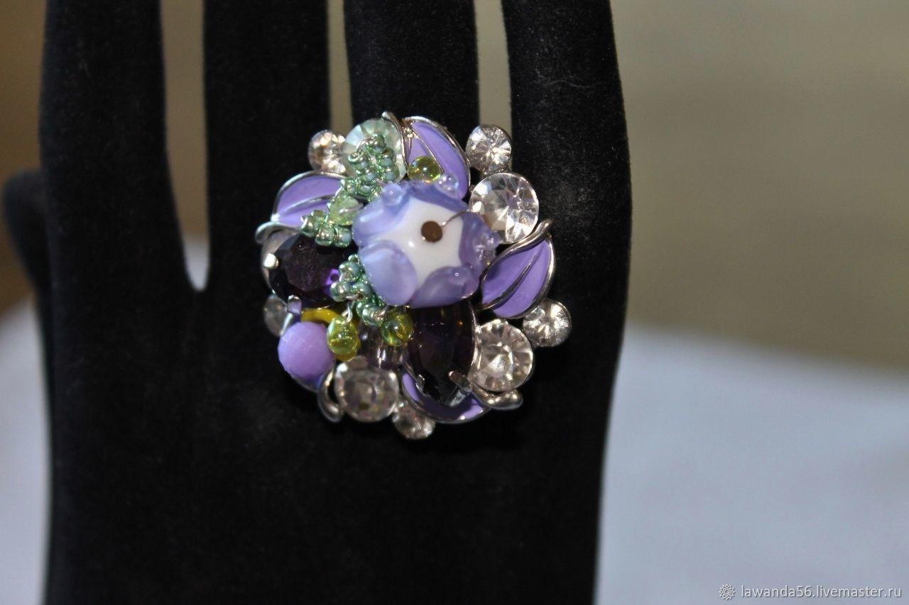 Ring lampwork lilac floral, Rings, Krasnoyarsk,  Фото №1