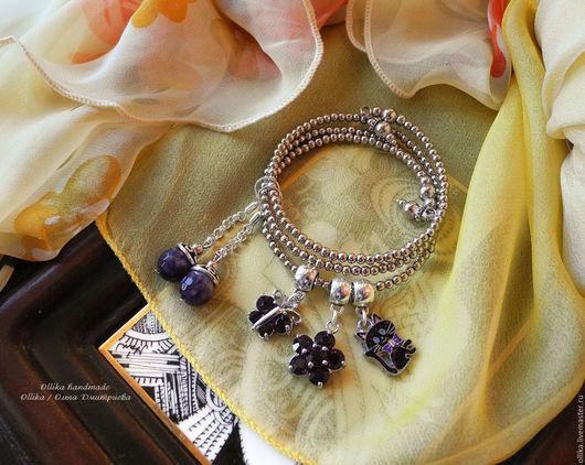 Браслет Фиалковая Кошечка браслет под серебро, женский тонкий браслет, модное украшение на руку, серебряный браслет, для девушки для женщины, СЕРЬГИ В ПОДАРОК, ПОДАРОК ПРИ ПОКУПКЕ, легкий браслет, бр