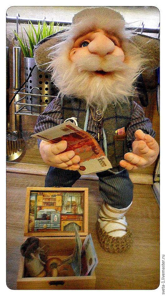 Коллекционные куклы ручной работы. Ярмарка Мастеров - ручная работа. Купить домовой. Handmade. Серый, капроновая кукла, хлопок 100%