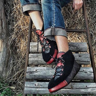"""Обувь ручной работы. Ярмарка Мастеров - ручная работа Ботинки """"Black&Cherry"""". Handmade."""