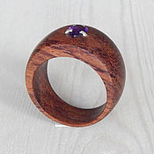 Украшения handmade. Livemaster - original item Wooden ring with amethyst, size 19.5. Handmade.