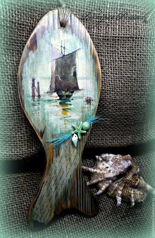 """Пейзаж ручной работы. Ярмарка Мастеров - ручная работа. Купить Панно-рыба """"Записка рыбака"""". Handmade. Морская волна, обжиг"""