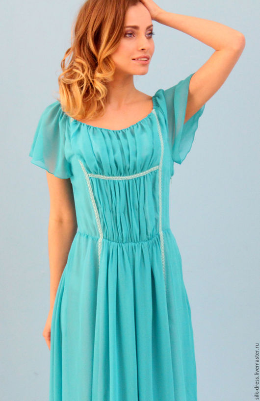 Платья ручной работы. Ярмарка Мастеров - ручная работа. Купить Платье из шифона с отделкой из кружева бирюзовое. Handmade. Бирюзовый