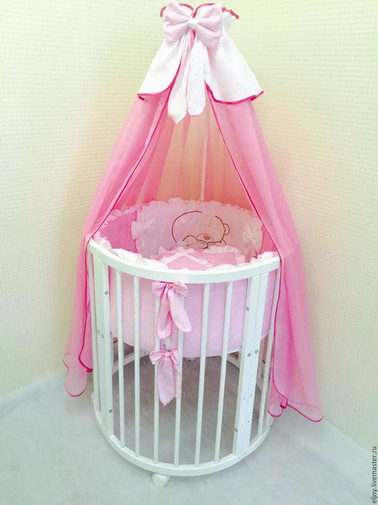 """Для новорожденных, ручной работы. Ярмарка Мастеров - ручная работа. Купить Комплект в кроватку """"Спящий мишка"""". Handmade. Синий, балдахин"""