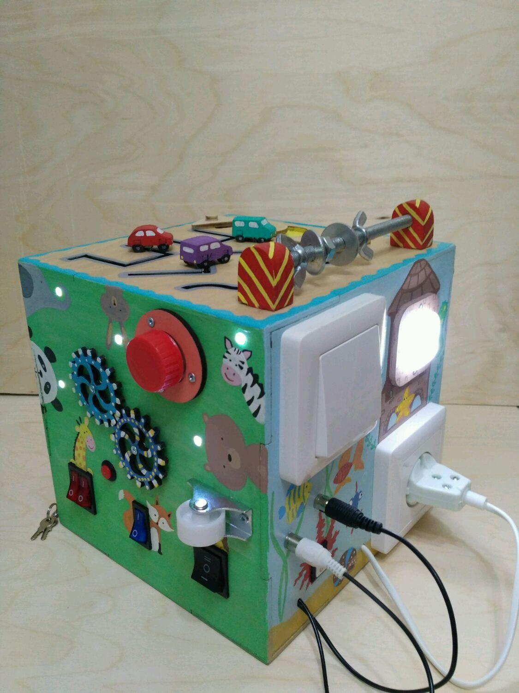 """Развивающие игрушки ручной работы. Ярмарка Мастеров - ручная работа. Купить Музыкальный бизикуб """"Зоо"""". Handmade. Развивающая игрушка, бизиборд"""