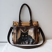 handmade. Livemaster - original item Leather bag with engraving and painting to order for Guli.. Handmade.