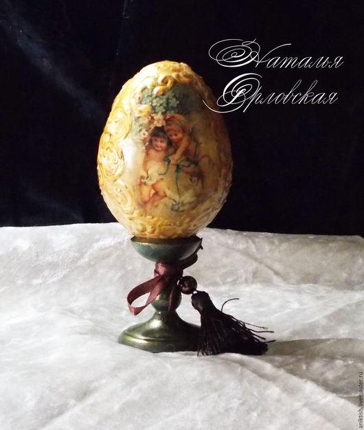 """Подарки на Хэллоуин ручной работы. Ярмарка Мастеров - ручная работа. Купить Пасхальное яйцо """"Ангелочки"""". Handmade. Тёмно-зелёный"""