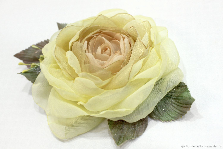 FABRIC FLOWERS. Chiffon rose ' Elina-II', Brooches, Vidnoye,  Фото №1
