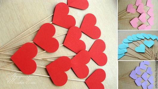Свадебные аксессуары ручной работы. Ярмарка Мастеров - ручная работа. Купить сердечки на палочках (цвет любой). Handmade. Разноцветный