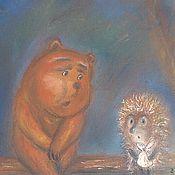 """Картины и панно ручной работы. Ярмарка Мастеров - ручная работа Картина пастелью """"Ёжик и медвежонок;. Handmade."""
