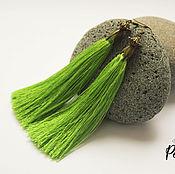 Украшения ручной работы. Ярмарка Мастеров - ручная работа Серьги кисти шелковые зеленые купить. Handmade.