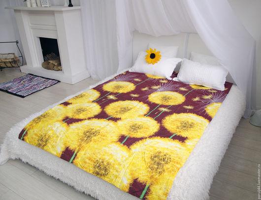 """Текстиль, ковры ручной работы. Ярмарка Мастеров - ручная работа. Купить Одеяло """"Весенний одуванчик"""". Handmade. Одуванчики, покрывало на диван"""