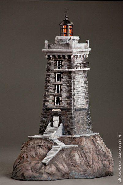 Купить Светильник- домик Маяк - темно-серый, маяк, светильник, светильник- домик, море, скалы