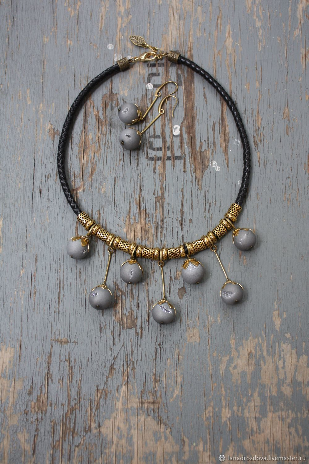 Necklace and earrings 'Buds' with agate metallic, Necklace, Almaty,  Фото №1