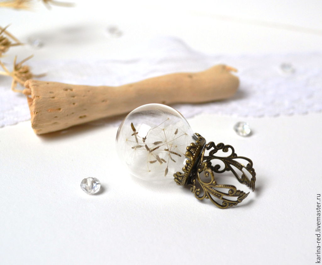 Scope ring with Dandelion Seeds, the Life of Eco jewelry, Rings, Taganrog,  Фото №1