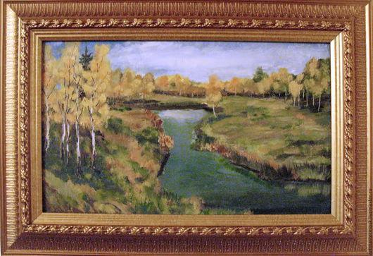 Пейзаж ручной работы. Ярмарка Мастеров - ручная работа. Купить Золотая осень по Левитану. Handmade. Комбинированный, пейзаж, левитан