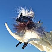 Куклы и игрушки ручной работы. Ярмарка Мастеров - ручная работа Черно-белый большой дракон с сиреневыми глазами, подвижная игрушка. Handmade.