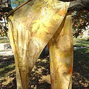 Аксессуары handmade. Livemaster - original item Natural silk stole autumn Gold. Handmade.