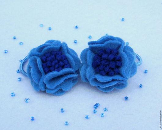 Детская бижутерия ручной работы. Ярмарка Мастеров - ручная работа. Купить Резинки для волос Синие цветы. Handmade. Синий