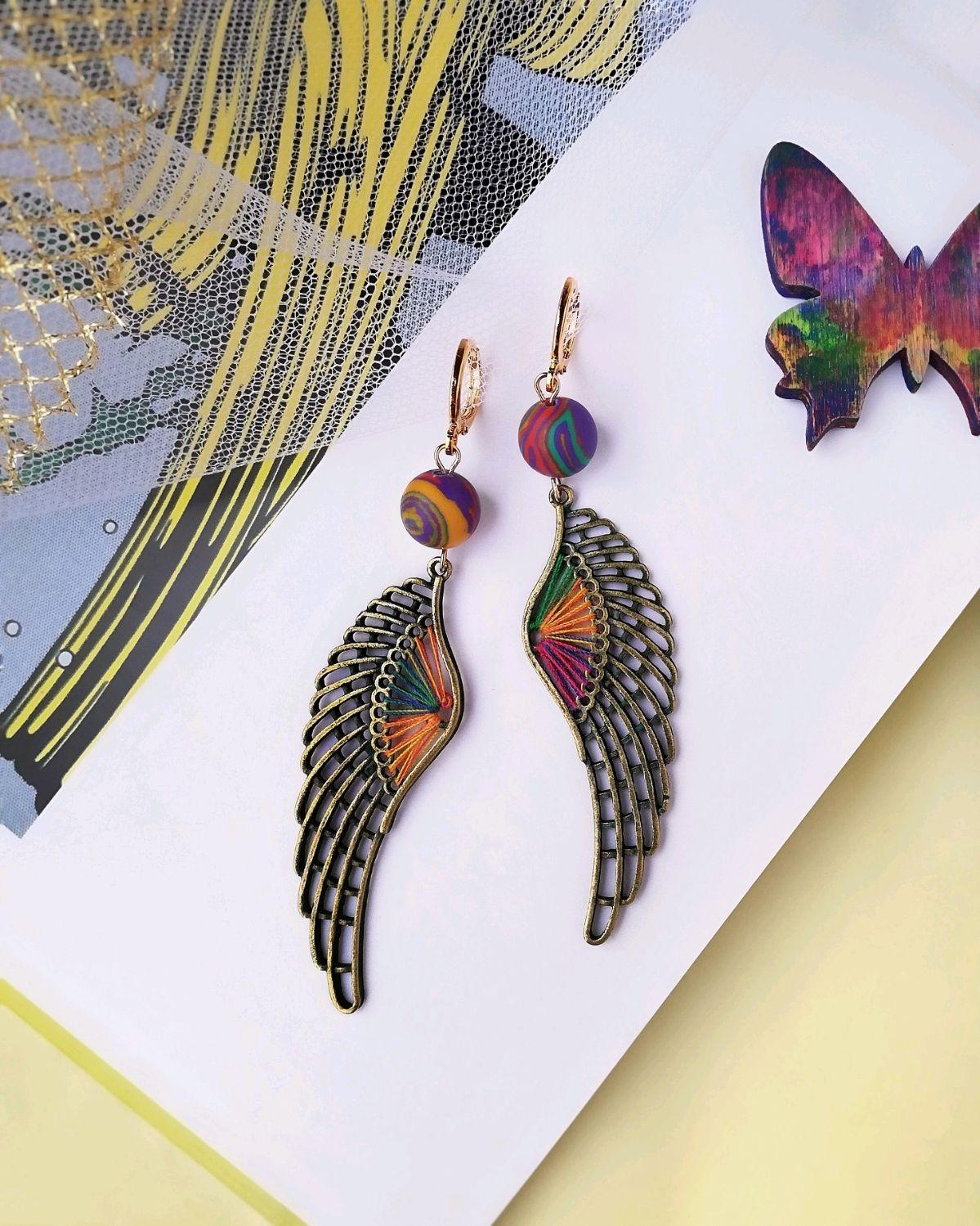 Серьги Angels длинные цветные с натуральными камнями крылья, Серьги классические, Москва,  Фото №1