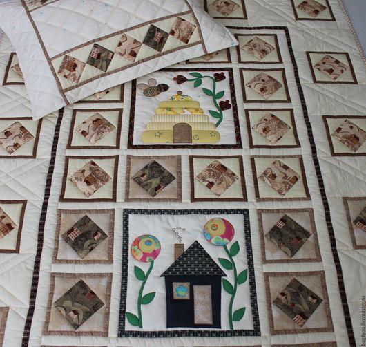 """Текстиль, ковры ручной работы. Ярмарка Мастеров - ручная работа. Купить Лоскутное покрывало """"Домики"""". Handmade. Пэчворк, покрывало детское"""
