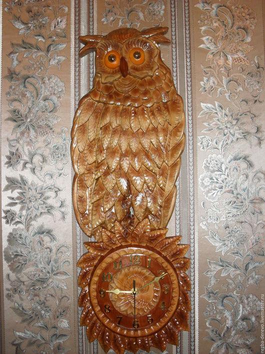 Часы для дома ручной работы. Ярмарка Мастеров - ручная работа. Купить Настенные  часы ( Совенок). Handmade. Коричневый