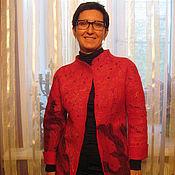 Одежда ручной работы. Ярмарка Мастеров - ручная работа Жакет валяный Красный. Handmade.