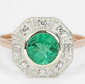 Украшения handmade. Livemaster - original item 14K Colombian Emerald Solitaire Rose Gold Engagement Ring,. Handmade.