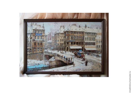 Город ручной работы. Ярмарка Мастеров - ручная работа. Купить Вена. Handmade. Вышивка, вышивка крестиком, шерсть, зима, подарок