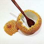 Для дома и интерьера ручной работы. Ярмарка Мастеров - ручная работа Емкость для мёда Баночка для меда Медовница Пчелиные соты керамические. Handmade.