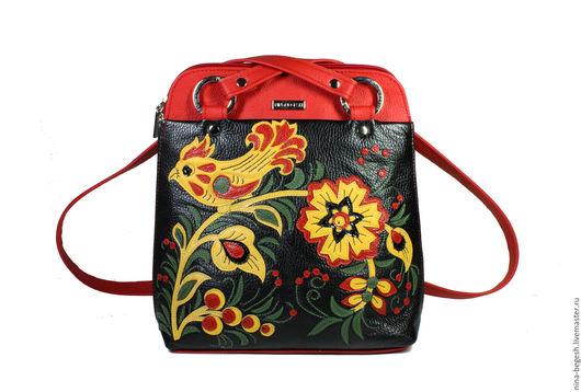 """Рюкзаки ручной работы. Ярмарка Мастеров - ручная работа. Купить Сумка-рюкзак """"Хохлома"""", рюкзак кожаный, сумка кожаная,аля рус. Handmade."""